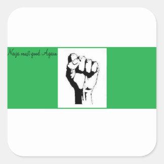握りこぶしを搭載するナイジェリアの旗 スクエアシール