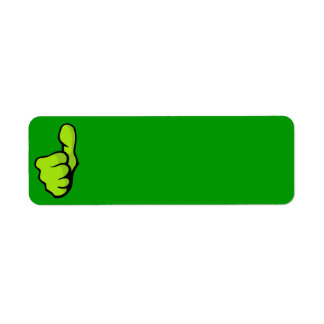 握りこぶし160957の握りこぶしの親指指の上の素晴らしい緑のposi ラベル