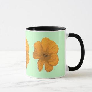 援助のPopArtのオレンジ花 マグカップ