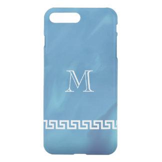 揺らめく青いギリシャ人の鍵のモノグラム iPhone 7 PLUSケース