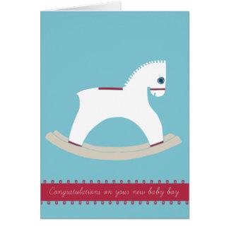 揺り木馬のお祝い カード