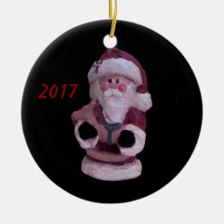 揺り木馬のクリスマスのオーナメント2017年が付いているサンタ セラミックオーナメント