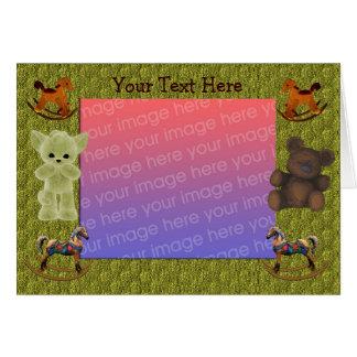 揺り木馬のテディー・ベアの写真 カード