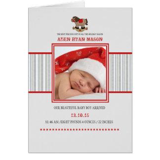 揺り木馬-写真によって折られる休日の誕生Announc カード