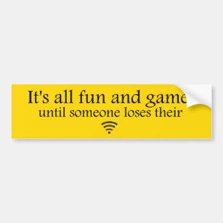 損失のWiFiのインターネットのバンパーステッカー-黄色 バンパーステッカー