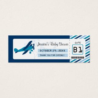 搭乗券のベビーシャワーのメッセージカード スキニー名刺
