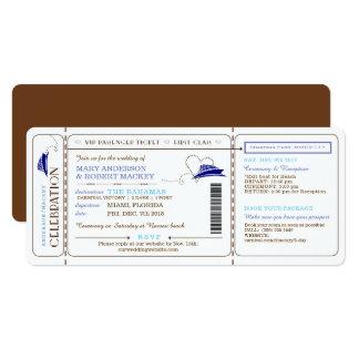 搭乗券のボートのチケットの結婚式招待状 10.2 X 23.5 インビテーションカード
