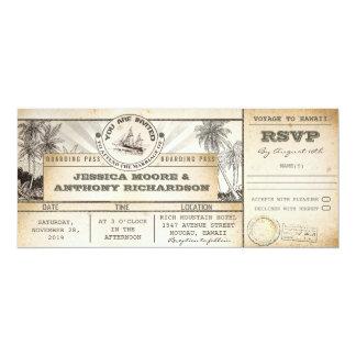 搭乗券の結婚式の切符の招待状 10.2 X 23.5 インビテーションカード