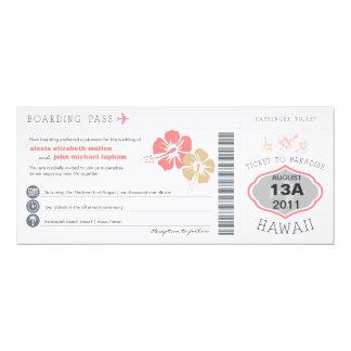 搭乗券の結婚式招待状 カード