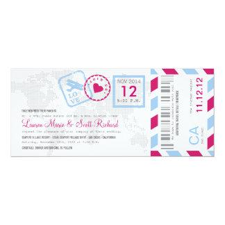 搭乗券の航空郵便のチケットの招待状 10.2 X 23.5 インビテーションカード
