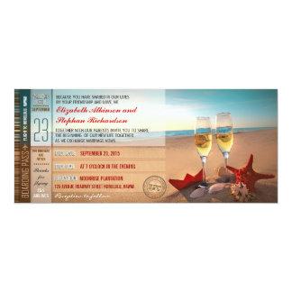 搭乗券はモダンなビーチ結婚式に札をつけます 10.2 X 23.5 インビテーションカード