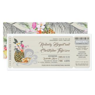搭乗券|のパイナップル|ビーチの婚約パーティ カード