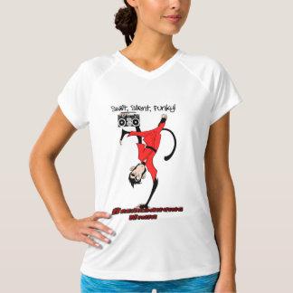 携帯用ステレオを持つBreakdancingの忍者の逆立ち猿 Tシャツ