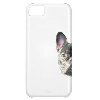 」携帯電話の箱をかいま見ているフレンチ・ブルドッグ「 iPhone5Cケース