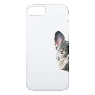 」携帯電話の箱をかいま見ているフレンチ・ブルドッグ「 iPhone 8/7ケース