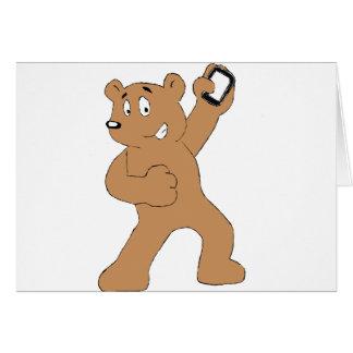 携帯電話を持つ漫画くま カード