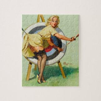 撃たれる素晴らしいアーチェリー-女の子の上のレトロPin ジグソーパズル