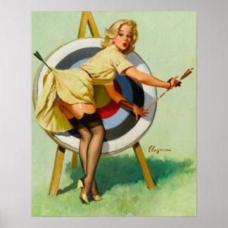 撃たれる素晴らしいアーチェリー-女の子の上のレトロPin ポスター