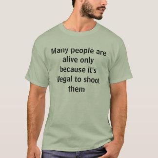 撃つこと違法 Tシャツ