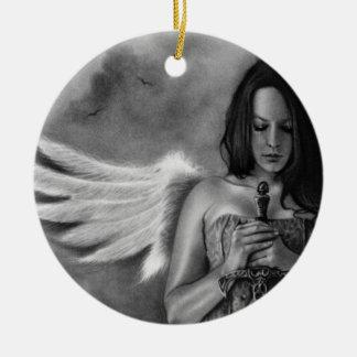 擁護者の天使の女の子の剣のオーナメント セラミックオーナメント
