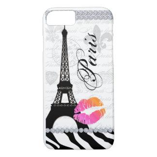 操作パリエッフェル塔のピンクの唇の携帯電話カバー iPhone 8/7ケース