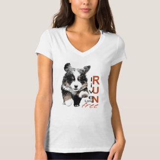 操業自由なBernerの子犬のv首のTシャツ Tシャツ