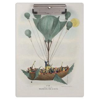 操縦出来る気球のビクトリアンなSteampunkのイラストレーション クリップボード