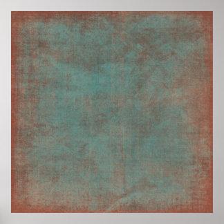 擦り切れたで青及び赤い背景幕のキャンバス ポスター