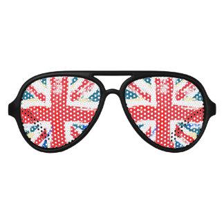 擦り切れたなイギリスの英国国旗の旗のヴィンテージ アビエーターサングラス