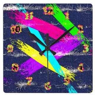 擦り切れたなデニムか多彩なpaintstrokesのノベルティの時計 スクエア壁時計
