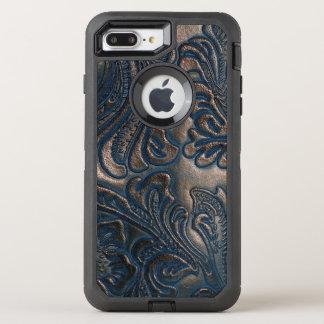 擦り切れたなヴィンテージのエンボスのブラウンの革デザイン オッターボックスディフェンダーiPhone 8 PLUS/7 PLUSケース