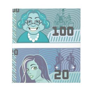 擬似お金の祖母100および女の子20のベクトル ノートパッド