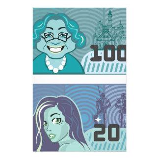 擬似お金の祖母100および女の子20のベクトル 便箋