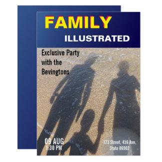 擬似ニュースの模造のな雑誌カバー家族のビーチのパーティー カード