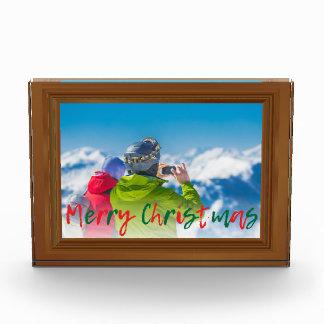 擬似レッドウッドフレームのメリークリスマスの緑の赤 フォトブロック