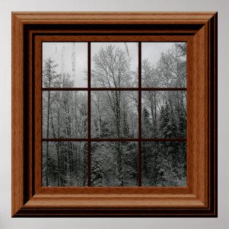 擬似窓ポスター冬の雪場面木のつらら ポスター