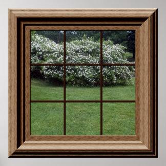 擬似窓ポスター平和な芝生の花柄の薮 ポスター