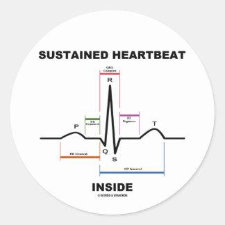 支えられた心拍の内部(心電図) 丸形シール・ステッカー