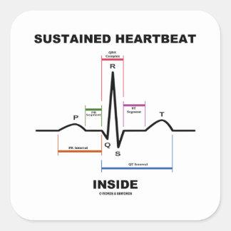 支えられた心拍の内部(心電図) 正方形シールステッカー