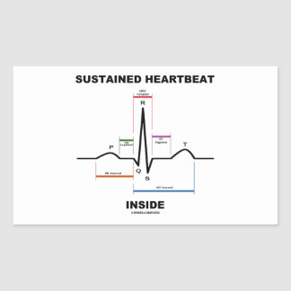 支えられた心拍の内部(ECG/EKG) 長方形シール