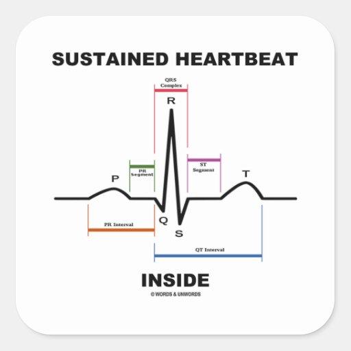支えられる|心拍|中|(心電図) 正方形シールステッカー