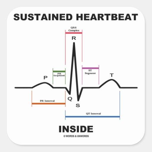 支えられる|心拍|中|(ECG/EKG) 正方形シール・ステッカー