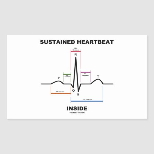支えられる|心拍|中|(ECG/EKG) 長方形シール・ステッカー