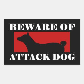 攻撃犬- Basenjiの用心して下さい 長方形シール