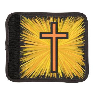 放射オレンジ及び黒いキリスト教の十字 ラゲッジ ハンドルラップ