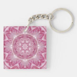 放射ピンクのバラの曼荼羅Keychain キーホルダー