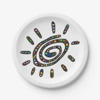 放射体神聖な螺線形のemoji芸術、自然アイコン ペーパープレート