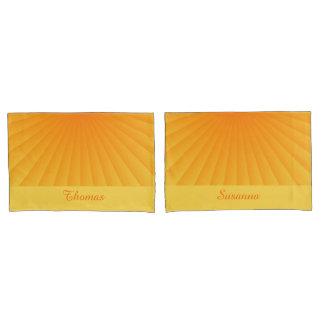 放射状のものは勾配-オレンジ黄色--を放射します + あなたのアイディア 枕カバー