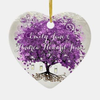 放射紫色のロマンチックなハートの葉の結婚式 セラミックオーナメント
