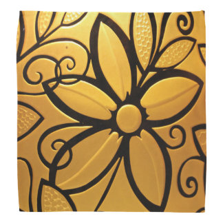 放射金黄色い花柄 バンダナ